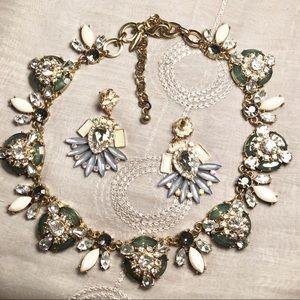 Natasha retro green necklace & earrings